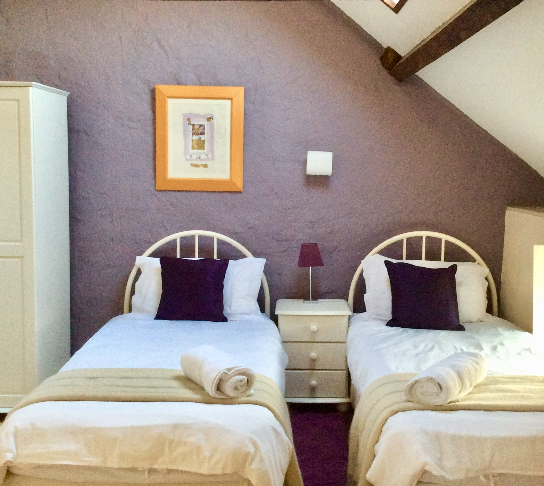 the twin room in the hayloft our 2 bedroom holiday cottage at Cwmcrwth Farm Holiday Cottages at Cwmcrwth Farm Holiday Cottages in West Wales
